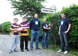 Members of Ballyhaunis RFC teamed up with Ulster Bank making the most of their RugbyForce weekend. The east Mayo Rugby Club were the provincial winners of a support package of ?5000 which will be used to improve the club's facilities. Pictured are youths players Jack Deegan and Conor Coll , John Dempsey and Ray Walsh from Ulster Bank and Shane Ganley (Ballyhaunis RFC).