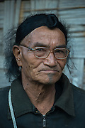 Apatani man showing hair knot.<br /> Apatani Tribe<br /> Ziro Valley, Lower Subansiri District, Arunachal Pradesh<br /> North East India