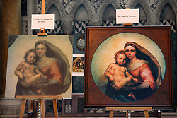 UK ENGLAND LONDON 5MAY12 - The De Brecy Tondo artwork (R), suspected to be by Reniassance painter Rafael is on display at the Westminster Cathedral in central London.....The Tondo displays striking resemblance to Rafael's Sistine Madonna, finished as a commissioned altarpiece and the last painting he completed with his own hands a few years before his death...Relocated to Dresden from 1754, the well-known painting has been particularly influential in Germany...jre/Photo by Jiri Rezac....© Jiri Rezac 2012