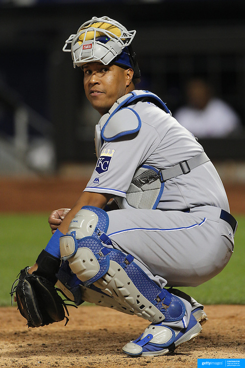 NEW YORK, NEW YORK - June 21: Catcher Salvador Perez #13 of the Kansas City Royals catching during the Kansas City Royals Vs New York Mets regular season MLB game at Citi Field on June 21, 2016 in New York City. (Photo by Tim Clayton/Corbis via Getty Images)