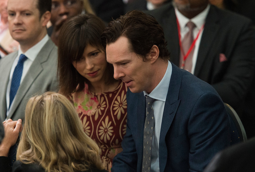 British actor Benedict Cumberbatch and Sophie Hunter attend a town hall meeting hosted by US President Barack Obama at the Lindley Hall in London, Britain, 23 April 2016. US President Obama is on a three day visit to the UK. EPA/WILL OLIVER