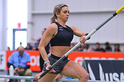 Morgann LeLeux competes in the women's pole vault during the USA Indoor Track and Field Championships in Staten Island, NY, Sunday, Feb 24, 2019. (Rich Graessle/Image of Sport)