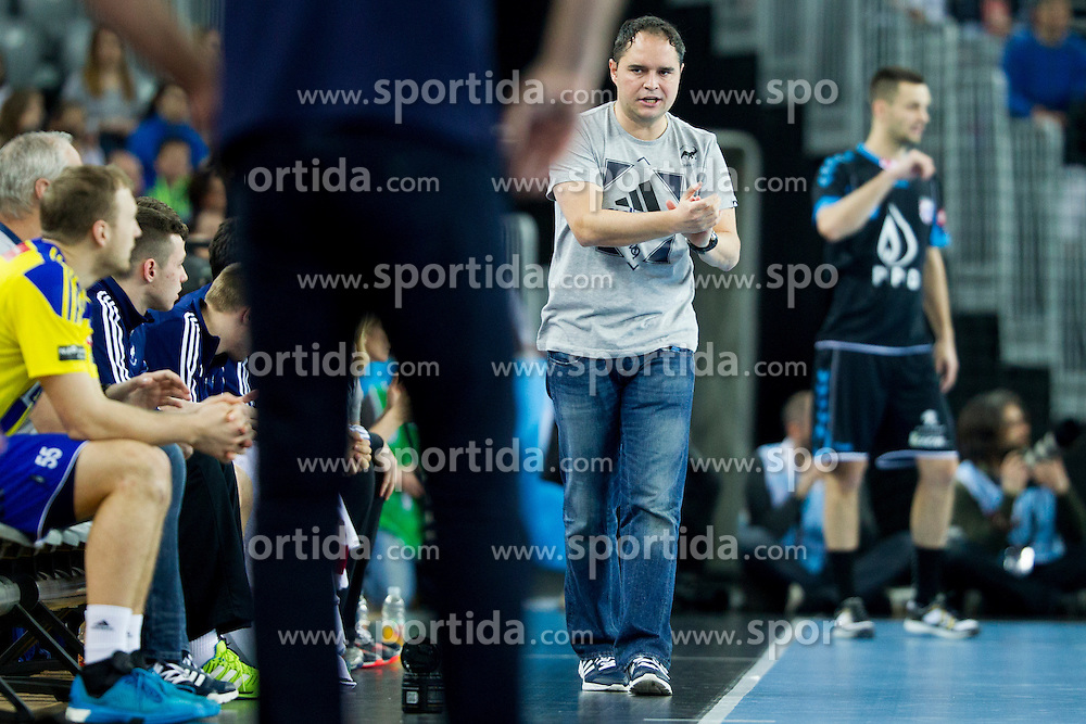 Branko Tamse, head coach of RK Celje Pivovarna Lasko during handball match between PPD Zagreb (CRO) and RK Celje Pivovarna Lasko (SLO) in 13th Round of Group Phase of EHF Champions League 2015/16, on February 27, 2016 in Arena Zagreb, Zagreb, Croatia. Photo by Urban Urbanc / Sportida