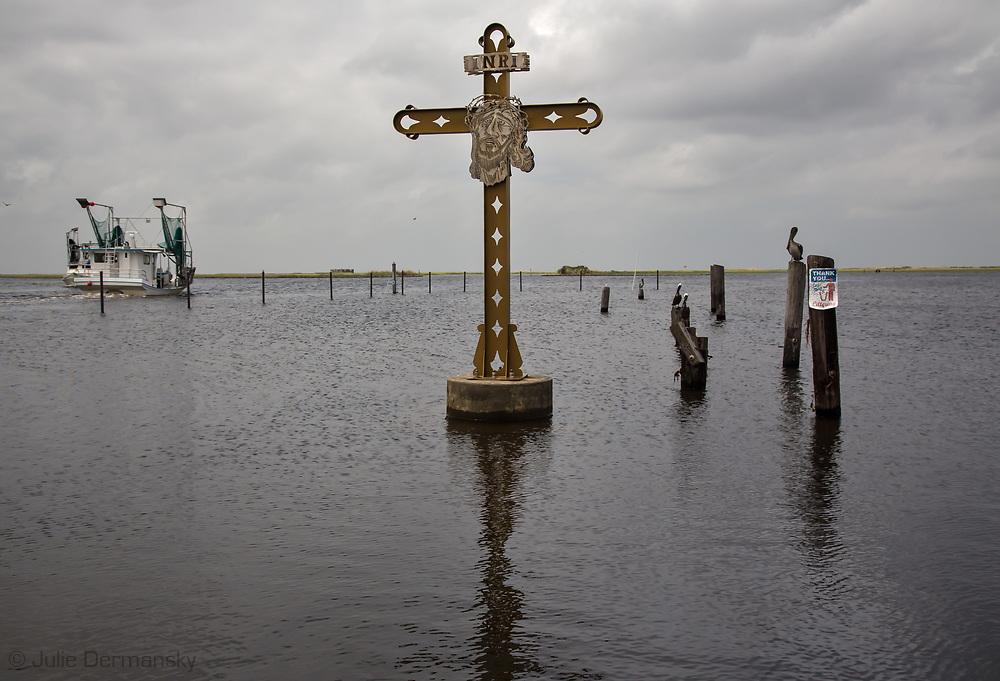 Katrina Memorial in St. Bernard Parish, in South Louisiana's wetlands at Shell Beach.
