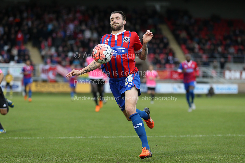 James Dunne of Dagenham &amp; Redbridge in action. The Emirates FA Cup, 2nd round match, Dagenham &amp; Redbridge v Whitehawk FC at the The London Borough of Barking &amp; Dagenham Stadium in London on Sunday 6th December 2015.<br /> pic by John Patrick Fletcher, Andrew Orchard sports photography.