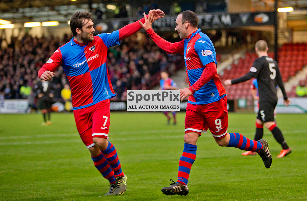 Dunfermline Athletic v Cowdenbeath SPFL League One Season 2015/16 East End Park 02 January 2016<br />  <br /> Michael Moffat ceebrates the opening goal with Michael Paton<br /> <br /> Dunfermline Athletic take on Cowdenbeath in League one, but also comemorate 20 years since the passing of DAFC player Norrie McCathie. Dunfermline and Cowdenbeath were the only two teams McCathie signed for and Dunfermline wear a replica of the strip Norrie last wore against St Mirren at Love Street in 1995. Cowdenbeath also wear a one off strip to comemorate the towns coal mining history. <br /> <br /> CRAIG BROWN   sportPix.org.uk