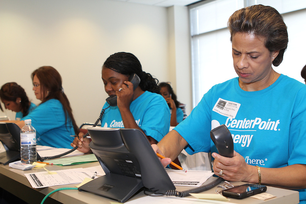 Volunteers at the HISD Grads Within Reach Phone Bank on September 4, 2012.