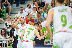 Sasa Zagorac and Klemen Prepelic of Slovenia during qualifying match between Slovenia and Kosovo for European basketball championship 2017,  Arena Stozice, Ljubljana on 31th August, Slovenia. Photo by Grega Valancic / Sportida