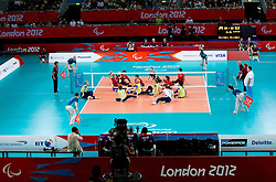 5th - 8th place sitting volleyball match between National teams of Slovenia and Japan during Day 7 of the Summer Paralympic Games London 2012 on September 4, 2012, in ExCel Exhibition centre, London, Great Britain. Slovenia defeated Japan 3-0. (Photo by Vid Ponikvar / Sportida.com)