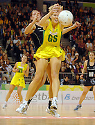 Australian shooter Sharelle McMahon <br /> International Netball Test Series: <br /> Australia vs New Zealand at the Vodafone Arena<br /> Melbourne, Victoria.  Australia<br /> Saturday 21 July 2007<br /> (AAP Image/Jeff Crow) NO ARCHIVING