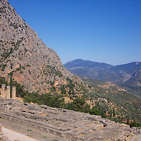 Nestled against the foothills of Mt. Parnassos, the Sanctuary of Apollo - home to the Oracle of Delphi - dates back to at least the 14th Century BC, with the region controlled by the Mycenaeans. The temple was built towards the end of the 7th Century BC.