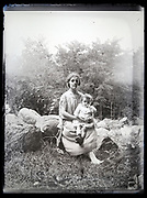 mother with toddler posing in nature France circa 1920s