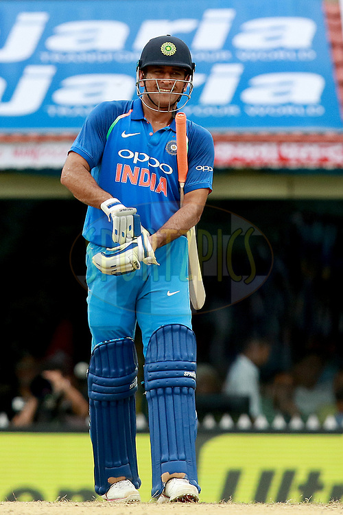 MS Dhoni of India during the 1st One Day International between India and Australia held at the M. A. Chidambaram Stadium in Chennai on the 17th September 2017<br /> <br /> Photo by Rahul Gulati / BCCI / SPORTZPICS
