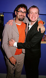 Left to right, comedians DAVID BADDIEL and FRANK SKINNER, at a film premier party in London on 14th November 2000.OJB 66