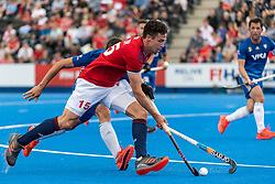 Phil Roper of Great Britain Men is tackled by Ignacio Ortiz of  Argentina during the 2019 Men's FIH Pro League match at Lee Valley Hockey Centre, Stratford<br /> Picture by Simon Parker/Focus Images Ltd <br /> 18/05/2019