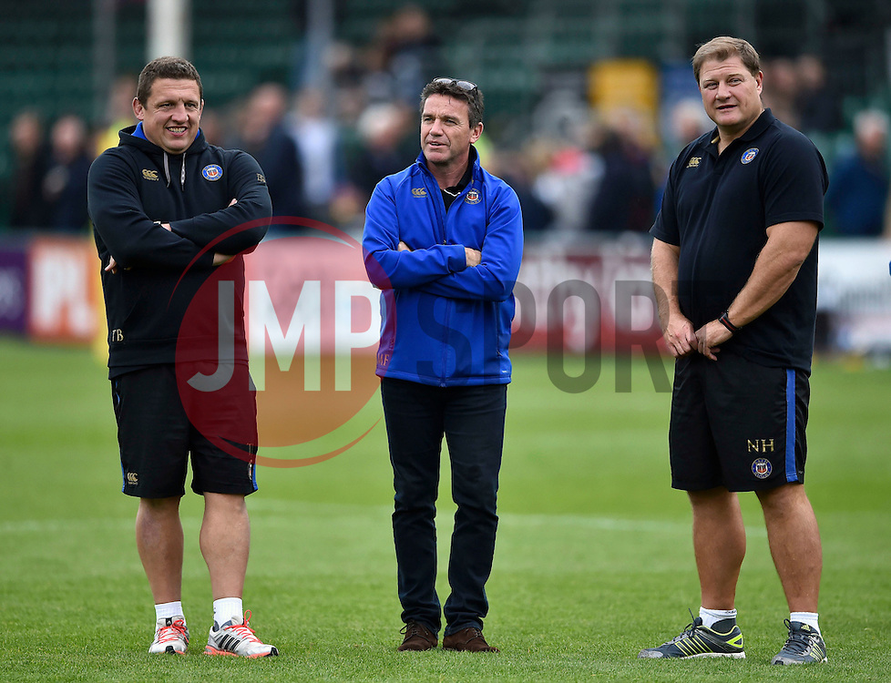 Bath Rugby head coach Mike Ford flanked by first team coaches Toby Booth and Neal Hatley - Mandatory byline: Patrick Khachfe/JMP - 07966 386802 - 10/10/2015 - RUGBY UNION - The Recreation Ground - Bath, England - Bath Rugby v Exeter Chiefs - West Country Challenge Cup.