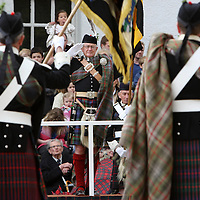 Atholl Highlanders Parade, Blair Castle, Perthshire..26.05.07<br /> John Murray 11th Duke of Atholl pictured centre take the salute<br /> Picture by Graeme Hart.<br /> Copyright Perthshire Picture Agency<br /> Tel: 01738 623350  Mobile: 07990 594431