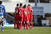 GOAL Callum Camps celebrates his goal 0-2 during the EFL Sky Bet League 1 match between Chesterfield and Rochdale at the b2net stadium, Chesterfield, England on 25 March 2017. Photo by Daniel Youngs.