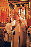 November 25, 1989. Prague, Czechoslovakia. Cardinal Tomaszek during the canonization ceremony of St. Agnes at St. Vitus cathedral. (Photo Heimo Aga)