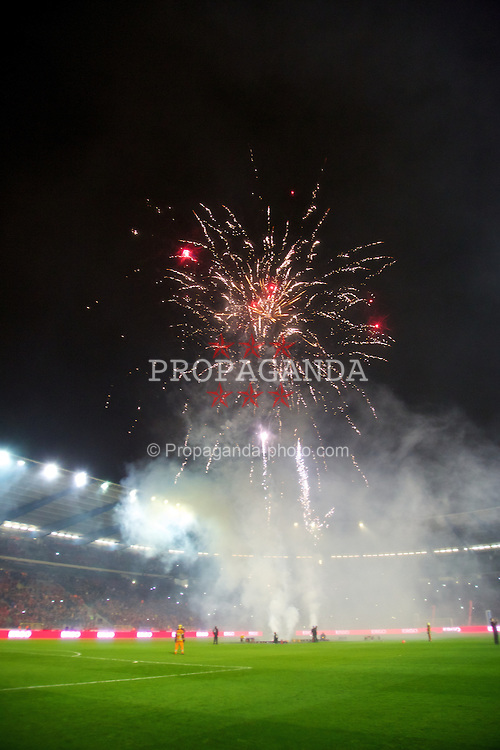 BRUSSELS, BELGIUM - Tuesday, October 15, 2013: Belgium celebrate with fireworks after the 1-1 draw with Wales during the 2014 FIFA World Cup Brazil Qualifying Group A match at the Koning Boudewijnstadion. (Pic by David Rawcliffe/Propaganda)