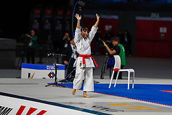 November 10, 2018 - Madrid, Madrid, Spain - Sandra Sanchez of Spain celebrates the victory and gain the gold medal and win the tournament of Female Kata tournament during the Finals of Karate World Championship celebrates in Wizink Center, Madrid, Spain, on November 10th, 2018. (Credit Image: © AFP7 via ZUMA Wire)