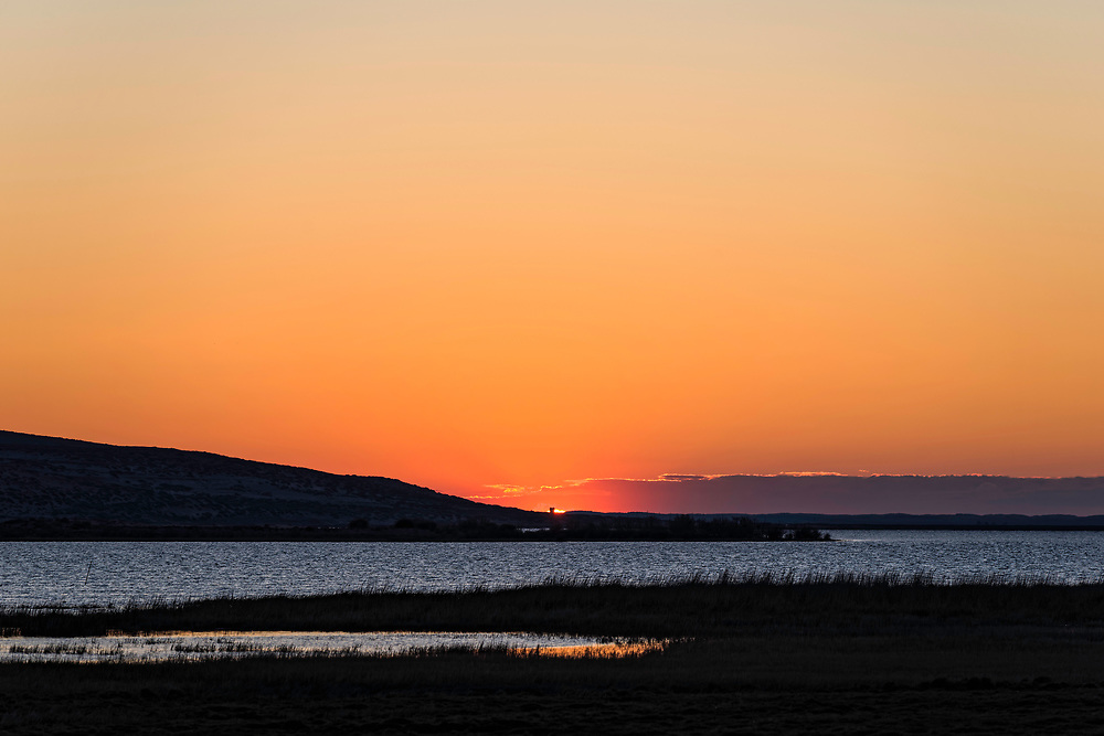 Pink sky at dawn, central Inner Mongolia, China. 沙漠湖泊的日出,内蒙古中部,中国。