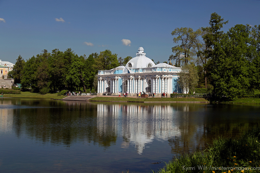 Europe, Russia, Pushkin. Catherine Park Great Pond at Catherine Palace.