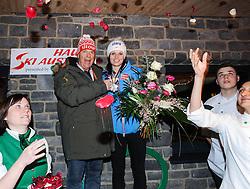 14.02.2013, Ski Austria Haus, Schladming, AUT, FIS Weltmeisterschaften Ski Alpin, Riesentorlauf, Damen, Medaillenfeier, im Bild ÖSV- Präsident Peter Schroecksnadel, Anna Fenninger (AUT, 3. Platz)  // Austrian Ski Federation President Peter Schroecksnadel, 3rd place Anna Fenninger of Austria at the Medal Party for Ladies Giant Slalom at the FIS Ski World Championships 2013 at the Ski Austria House, Schladming, Austria on 2013/02/14. EXPA Pictures © 2013, PhotoCredit: EXPA/  Erich Spiess