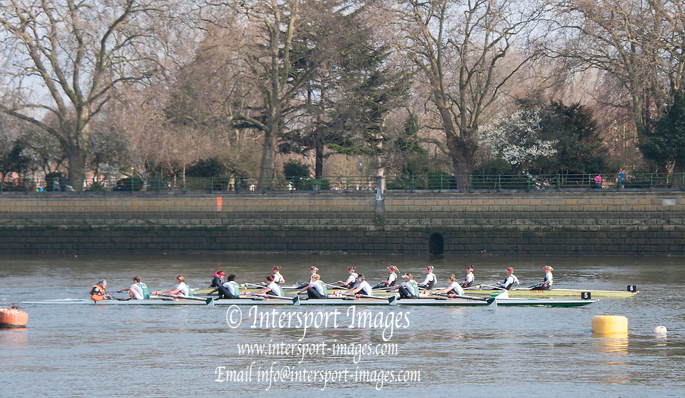 London, Great Britain. Final few strke of the race as Thames RC gain some ground on Exeter University BC.  General Views on Putney Hard. 2015 Women's Head of the River Race, Chiswick to Putney, Championship Course, River Thames.  England. <br /> Saturday  14/03/2015<br /> <br /> [Mandatory Credit; Intersport-images]