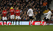 Picture by David Horn/Focus Images Ltd +44 7545 970036.29/12/2012.Bryan Ruiz of Fulham goes close with a free kick during the Barclays Premier League match at Craven Cottage, London.