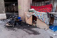 "ROME, ITALY - APRIL 16: The arson some shacks  made of cardboard in Via Marsala, near the Termini station in the area frequented by the homeless near the canteen of Caritas, two burns among the homeless. The flames  they've caused ""extensive damage"" to the external structure of the ""Don Luigi Di Liegro"" hostel of Caritas, causing the partial collapse of the false ceiling and the lights, also damaged the Arch of Sixtus V built in 1585 on April 16, 2018 in Rome, Italy.  (Photo by Stefano Montesi)"