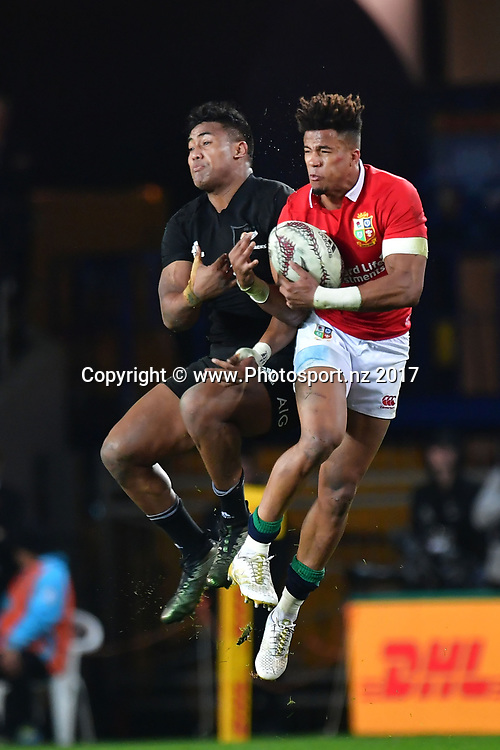 All Blacks Julian Savea (L) jumps for the ball with Lions Anthony Watson during the 3rd rugby test match between the All Blacks and Lions at Eden Park in Auckland on Saturday the 8th of July 2017. Copyright Photo by Marty Melville / www.Photosport.nz