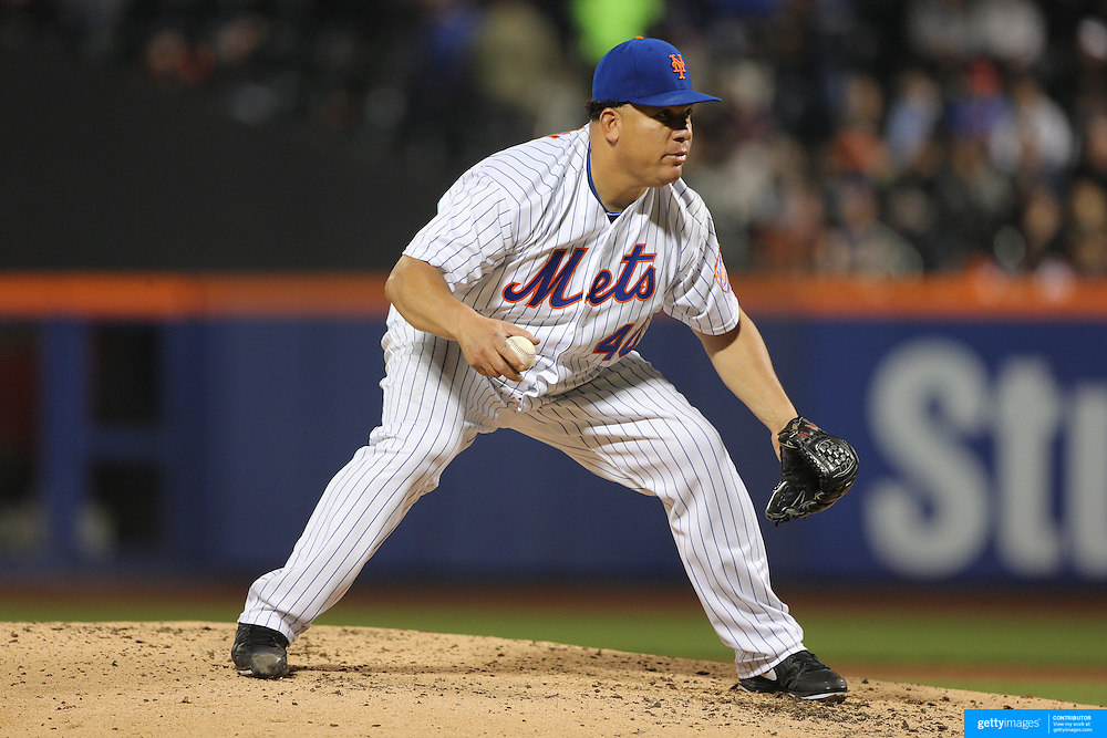 NEW YORK, NEW YORK - MAY 02: Pitcher Bartolo Colon #40 of the New York Mets fields the ball off his own pitching to get the out at first of Daniel Castro #14 of the Atlanta Braves during the Atlanta Braves Vs New York Mets MLB regular season game at Citi Field on May 02, 2016 in New York City. (Photo by Tim Clayton/Corbis via Getty Images)