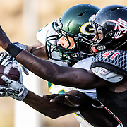 Anthony Nelson (41) of Santa Ana College attacks the ball against a Grossmont receiver. Grossmont defeats Santa Ana College 30-23 at Santa Ana Stadium.