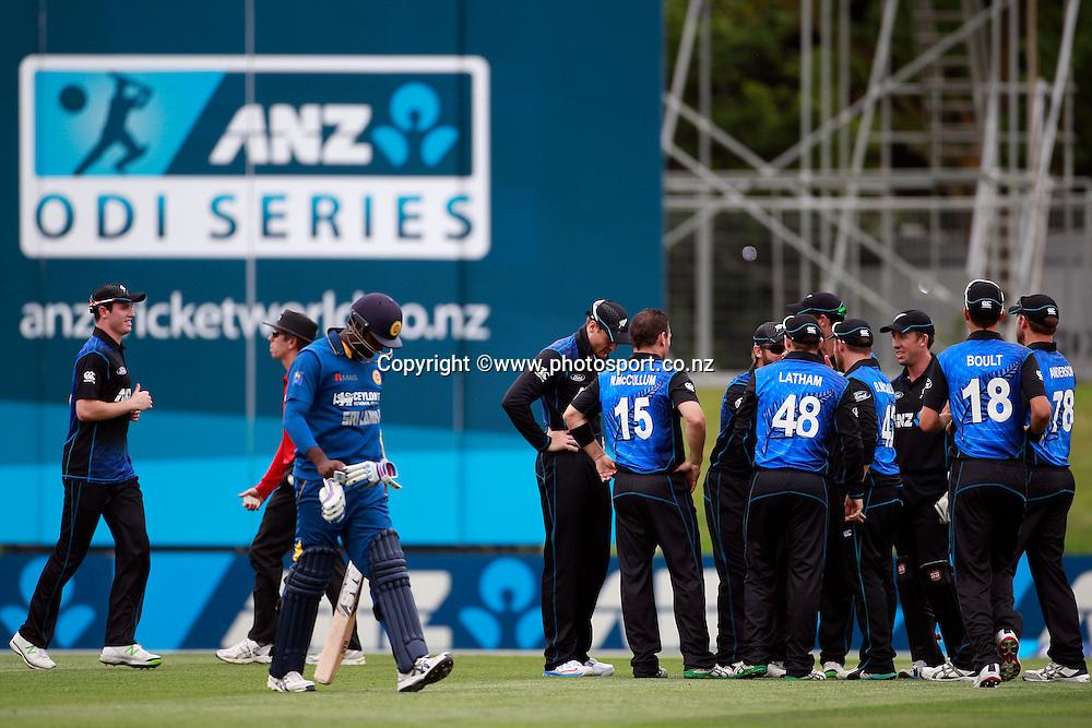 Angelo Mathews of Sri Lanka laments being runout during the first ODI between the Black Caps v Sri Lanka at Hagley Oval, Christchurch. 11 January 2015 Photo: Joseph Johnson / www.photosport.co.nz