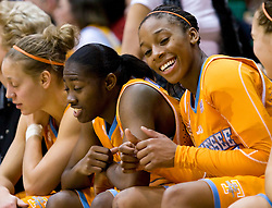 December 22, 2009; San Francisco, CA, USA;  Tennessee Lady Volunteers forward Glory Johnson (25) and guard/forward Shekinna Stricklen (40) celebrate on the bench during the second half against the San Francisco Dons at War Memorial Gym.  Tennessee defeated San Francisco 89-34.