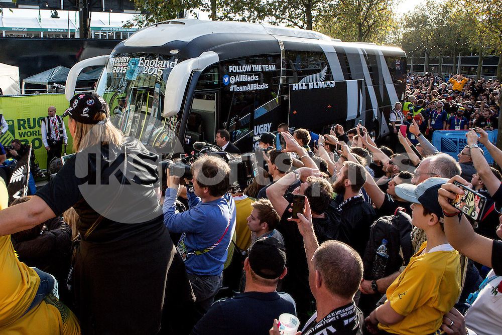 New Zealand team bus arrive and Coach Steve Hansen of New Zealand steps off the coach during the Rugby World Cup Final match between New Zealand and Australia played at Twickenham Stadium, London on the 31st of October 2015. Photo by Liam McAvoy