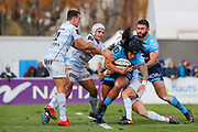 Joseph Tomane (Montpellier Herault Rugby) stopped and catched by Maxime MACHENAUD (Racing Metro 92), Patrick Lambie (Racing Metro 92), Juan Jose Imhoff (Racing Metro 92) during the French Championship Top 14 Rugby Union match between Racing Metro 92 and Montpellier Herault Rugby, on November 26, 2017, at Yves du Manoir stadium in Colombes, France, Photo Stephane Allaman / ProSportsImages / DPPI