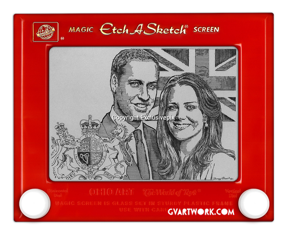 EXCLUSIVE<br /> 19/04/2011<br /> In lines to the throne: Artist takes 80 hours to create Prince William and Kate Middleton... on an Etch A Sketch<br /> Their faces have been captured on mugs, plates, tea towels - and even in Lego - now it's the turn of an Etch A Sketch whizz to pay his tribute to Prince William and Kate Middleton.<br /> The portrait was created by artist George Vlosich, using the retro toy which originates from the late 1950s.<br /> The likeness took 80 hours to draw with two dials on a plastic frame &ndash; all using one unbroken black line.<br /> <br /> Twisting the knobs moves a stylus that removes aluminum powder from the back of the screen, leaving a black line.<br /> Mr Vlosich, from Ohio, created the image especially for an art gallery show to celebrate the Royal wedding.<br /> He has also produced Etch A Sketch portraits of Barack Obama, Will Smith, Tiger Woods, Muhammad Ali and The Beatles.<br /> <br /> The 30-year-old, who has been using the toy since the age of ten, said: &lsquo;Each is an original work of art that takes 70-80 hours to create.<br /> &lsquo;Once finished, the piece is then preserved to stand the test of time by removing the powder from the Etch A Sketch.' <br /> &copy;George Viosich/Exclusivepix