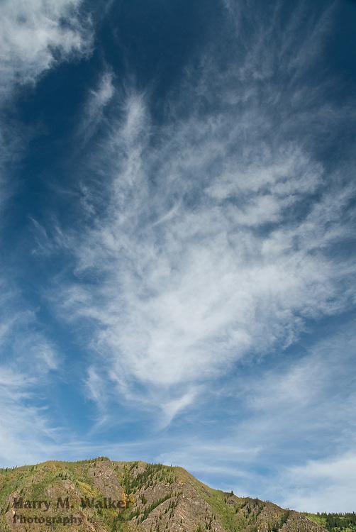 Cirrus clouds above Yukon River;  Yukon Territory Canada
