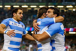 Argentina Winger Juan Imhoff celebrates after he scores the second try of the game - Mandatory byline: Rogan Thomson/JMP - 07966 386802 - 18/10/2015 - RUGBY UNION - Millennium Stadium - Cardiff, Wales - Ireland v Argentina - Rugby World Cup 2015 Quarter Finals.