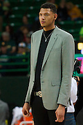 WACO, TX - DECEMBER 9: Former Baylor Bear basketball player Isaiah Austin looks on before tipoff against the Texas A&M Aggies on December 9, 2014 at the Ferrell Center in Waco, Texas.  (Photo by Cooper Neill/Getty Images) *** Local Caption *** Isaiah Austin