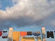 At the end of the day, walkers on the Camino de Santiago would do their washing. The late afternoon light brought out the colours against the sky.