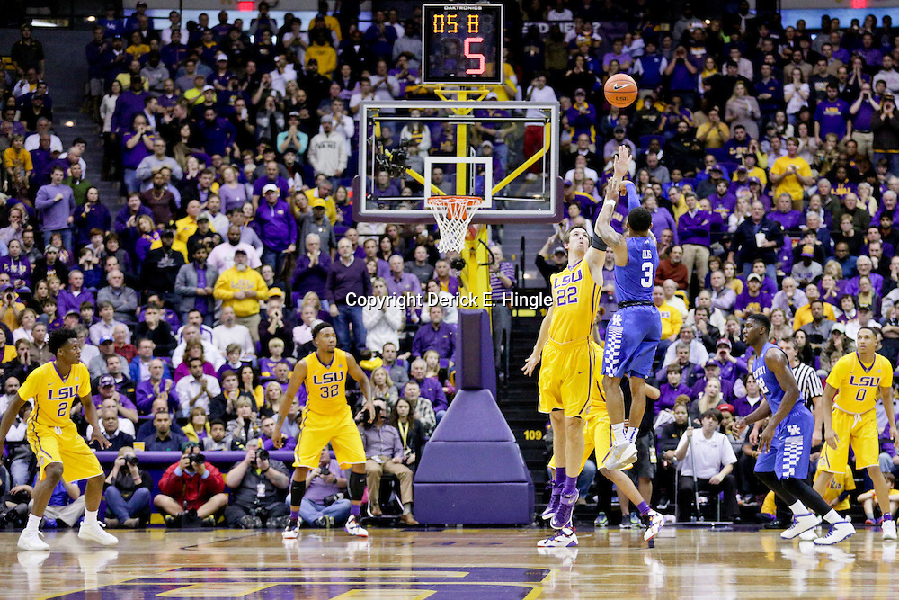 Jan 5, 2016; Baton Rouge, LA, USA; Kentucky Wildcats guard Tyler Ulis (3) shoots over LSU Tigers center Darcy Malone (22) during the first half of a game at the Pete Maravich Assembly Center. Mandatory Credit: Derick E. Hingle-USA TODAY Sports