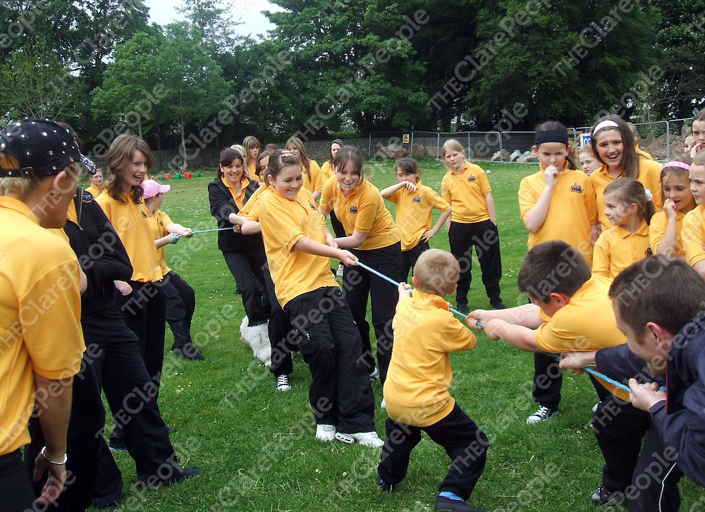 The girls seem to be getting the better of the boys at the tug o war at the Funk Fusion stage school fundraising event for autism at St. Flannan's College.