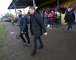 Albion Rover's manager Darren Young and Airdrie's manager Mark Wilson. Half time : Albion Rover 0 v 2 Airdrie, Scottish League 1 game played 5/11/2016 at Cliftonhill.