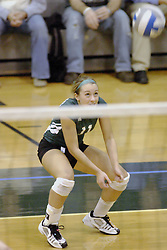 27 October 2006: Jill Kissinger stoops to dig out a serve. The Bears won the match 3 games to 1. The match between the Washington University Bears and the Illinois Wesleyan Titans took place at Shirk Center on the IWU campus in Bloomington Illinois.<br />
