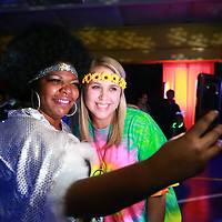 Joyner Elementary teachers Andrea Cobb, left, and Nikki Bond grab a quick selfie before they hit the dance floor.