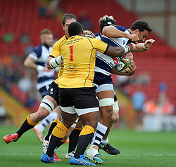 Marco Mama of Bristol Rugby takes on the Pirates defence - Photo mandatory by-line: Patrick Khachfe/JMP - Mobile: 07966 386802 21/09/2014 - SPORT - RUGBY UNION - Bristol - Ashton Gate - Bristol Rugby v Cornish Pirates - GK IPA Championship.