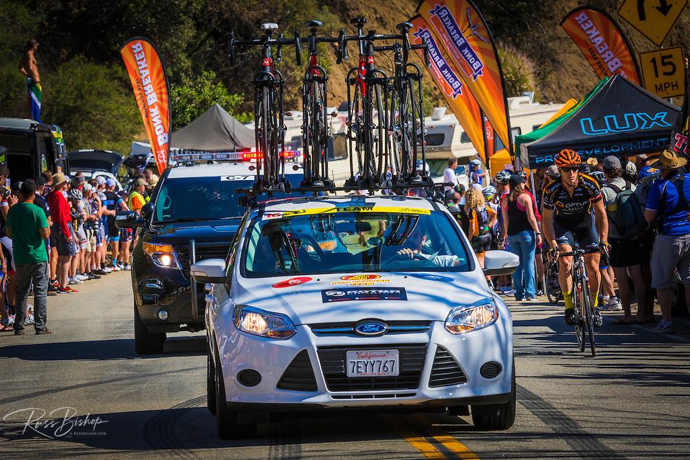 Team cars at the Amgen Tour of California, Santa Monica Mountains, California USA